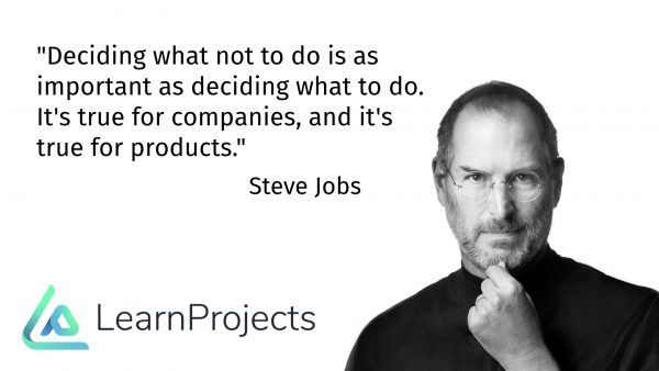 """""""Deciding what not to do is as important as deciding what to do. It's true for companies, and it's true for products."""""""